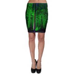 Spooky Forest With Illuminated Trees Bodycon Skirt by Nexatart
