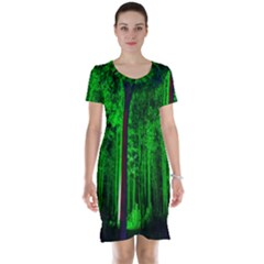 Spooky Forest With Illuminated Trees Short Sleeve Nightdress by Nexatart