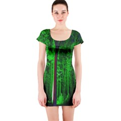 Spooky Forest With Illuminated Trees Short Sleeve Bodycon Dress by Nexatart