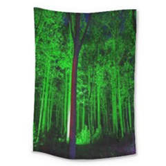 Spooky Forest With Illuminated Trees Large Tapestry by Nexatart