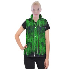 Spooky Forest With Illuminated Trees Women s Button Up Puffer Vest