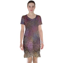 2000 Spirals Many Colorful Spirals Short Sleeve Nightdress