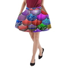 Fun Balls Pattern Colorful And Ornamental Balls Pattern Background A Line Pocket Skirt by Nexatart