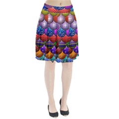 Fun Balls Pattern Colorful And Ornamental Balls Pattern Background Pleated Skirt
