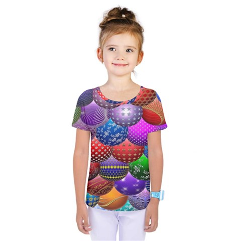 Fun Balls Pattern Colorful And Ornamental Balls Pattern Background Kids  One Piece Tee by Nexatart