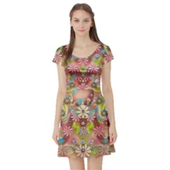 Jungle Life And Paradise Apples Short Sleeve Skater Dress by pepitasart