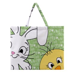 Easter Bunny And Chick  Zipper Large Tote Bag by Valentinaart