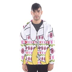 Easter Bunny And Chick  Hooded Wind Breaker (men) by Valentinaart