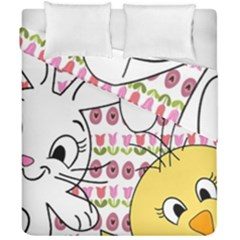 Easter Bunny And Chick  Duvet Cover Double Side (california King Size)