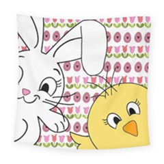 Easter Bunny And Chick  Square Tapestry (large) by Valentinaart