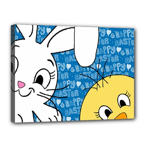 Easter Bunny And Chick  Canvas 16  X 12  by Valentinaart
