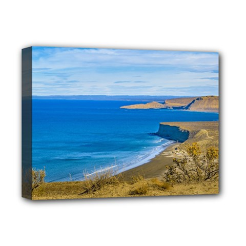 Seascape View From Punta Del Marquez Viewpoint, Chubut, Argentina Deluxe Canvas 16  X 12   by dflcprints