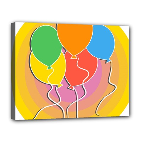 Birthday Party Balloons Colourful Cartoon Illustration Of A Bunch Of Party Balloon Canvas 14  X 11  by Nexatart