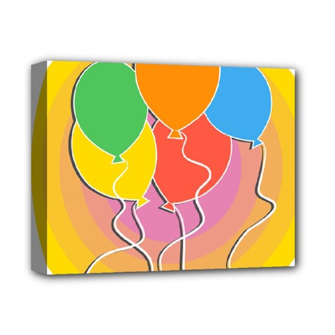 Birthday Party Balloons Colourful Cartoon Illustration Of A Bunch Of Party Balloon Deluxe Canvas 14  X 11  by Nexatart
