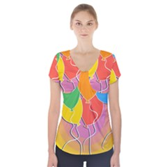 Birthday Party Balloons Colourful Cartoon Illustration Of A Bunch Of Party Balloon Short Sleeve Front Detail Top