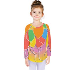 Birthday Party Balloons Colourful Cartoon Illustration Of A Bunch Of Party Balloon Kids  Long Sleeve Tee