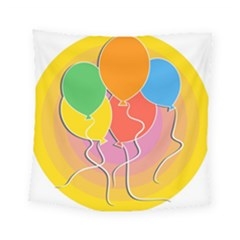 Birthday Party Balloons Colourful Cartoon Illustration Of A Bunch Of Party Balloon Square Tapestry (small) by Nexatart