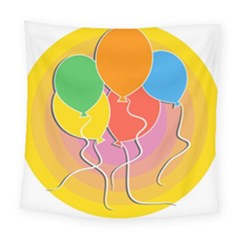 Birthday Party Balloons Colourful Cartoon Illustration Of A Bunch Of Party Balloon Square Tapestry (large) by Nexatart