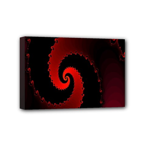 Red Fractal Spiral Mini Canvas 6  X 4