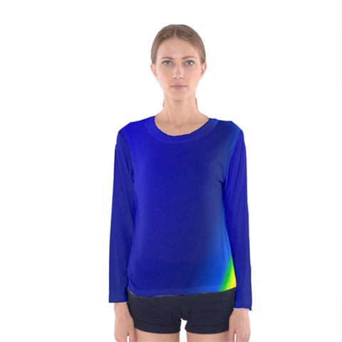 Blue Wallpaper With Rainbow Women s Long Sleeve Tee by Nexatart
