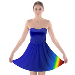 Blue Wallpaper With Rainbow Strapless Bra Top Dress by Nexatart