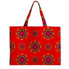 Rainbow Colors Geometric Circles Seamless Pattern On Red Background Zipper Mini Tote Bag by Nexatart