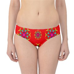 Rainbow Colors Geometric Circles Seamless Pattern On Red Background Hipster Bikini Bottoms