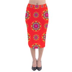 Rainbow Colors Geometric Circles Seamless Pattern On Red Background Velvet Midi Pencil Skirt