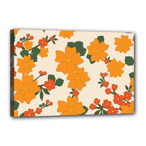 Vintage Floral Wallpaper Background In Shades Of Orange Canvas 18  X 12