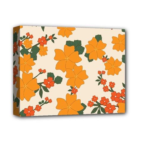Vintage Floral Wallpaper Background In Shades Of Orange Deluxe Canvas 14  X 11