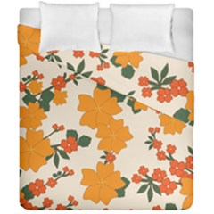 Vintage Floral Wallpaper Background In Shades Of Orange Duvet Cover Double Side (california King Size) by Nexatart