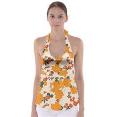 Vintage Floral Wallpaper Background In Shades Of Orange Babydoll Tankini Top by Nexatart