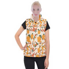 Vintage Floral Wallpaper Background In Shades Of Orange Women s Button Up Puffer Vest by Nexatart