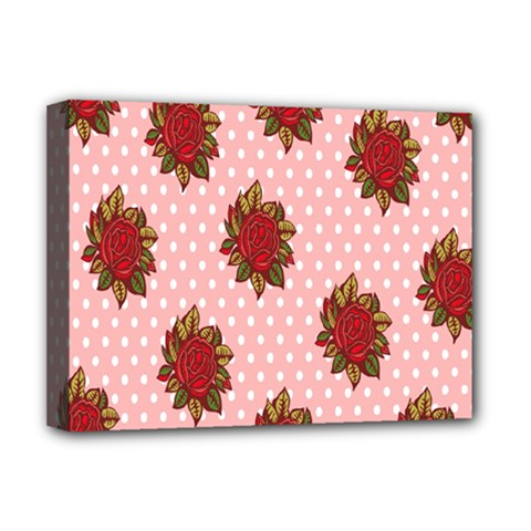 Pink Polka Dot Background With Red Roses Deluxe Canvas 16  X 12   by Nexatart