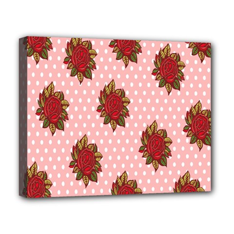 Pink Polka Dot Background With Red Roses Deluxe Canvas 20  X 16   by Nexatart