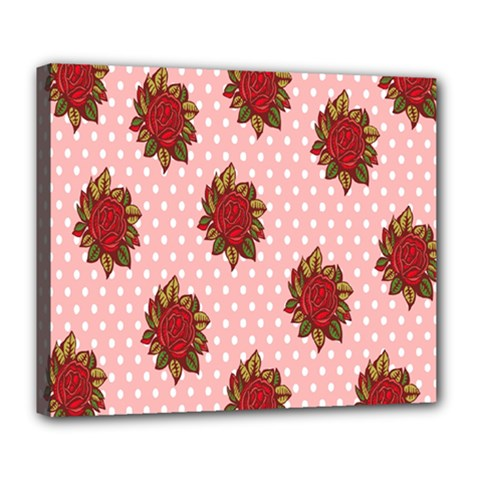 Pink Polka Dot Background With Red Roses Deluxe Canvas 24  X 20