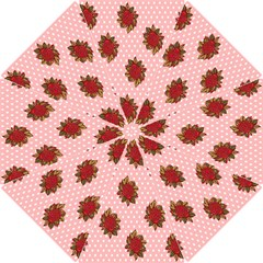 Pink Polka Dot Background With Red Roses Hook Handle Umbrellas (small) by Nexatart