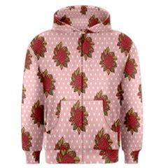 Pink Polka Dot Background With Red Roses Men s Zipper Hoodie by Nexatart