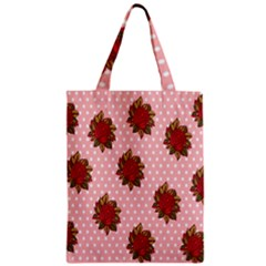 Pink Polka Dot Background With Red Roses Zipper Classic Tote Bag by Nexatart