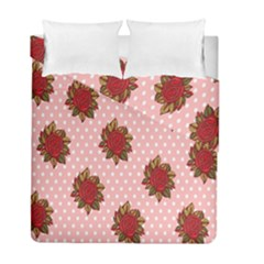 Pink Polka Dot Background With Red Roses Duvet Cover Double Side (full/ Double Size) by Nexatart