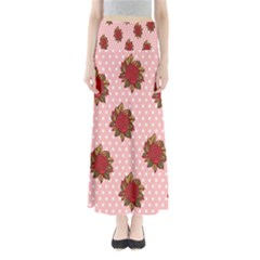 Pink Polka Dot Background With Red Roses Maxi Skirts by Nexatart
