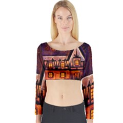 House In Winter Decoration Long Sleeve Crop Top by Nexatart