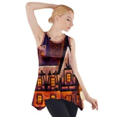 House In Winter Decoration Side Drop Tank Tunic