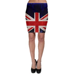 Flag Of Britain Grunge Union Jack Flag Background Bodycon Skirt