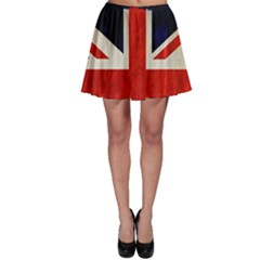 Flag Of Britain Grunge Union Jack Flag Background Skater Skirt by Nexatart