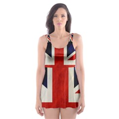 Flag Of Britain Grunge Union Jack Flag Background Skater Dress Swimsuit