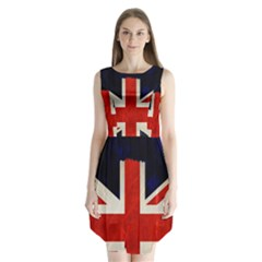 Flag Of Britain Grunge Union Jack Flag Background Sleeveless Chiffon Dress   by Nexatart