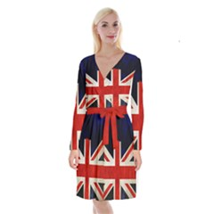 Flag Of Britain Grunge Union Jack Flag Background Long Sleeve Velvet Front Wrap Dress by Nexatart