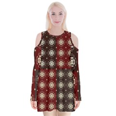 Decorative Pattern With Flowers Digital Computer Graphic Velvet Long Sleeve Shoulder Cutout Dress