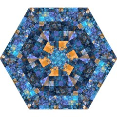 Blue Squares Abstract Background Of Blue And Purple Squares Mini Folding Umbrellas by Nexatart